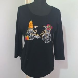 Karen Scott Embellished Bicycle 3/4 Sleeve Top